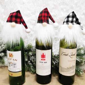Natale fortunato ornamento rosso bottiglia di vino copertura vino copertura di vino natale albero appeso bottiglia di bottiglia coperture festival partito festival bambola decor E110303