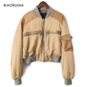 BIAORUINA Women Khaki Patchwork Smooth Thick Short Female Autumn Winter Bomber Jacket Stnad Collar Oversized Coat Y1112
