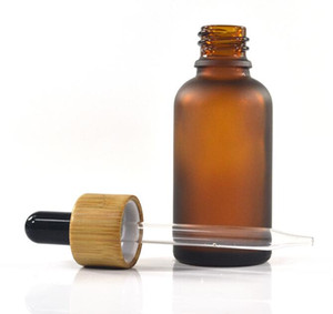 5ml 10ml 15ml 20ml amber frosted glass bottle bamboo top cap perfume essential oil eliquid glass dropper bottle