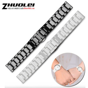 Watch Bands Style High Quality Ceramic Black White Watchbands 20mm 22mm Strap Flat End Accessories Fashion Bracelets