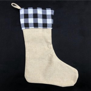 Plaid Weihnachtsstrumpf Cotton Büffel Flanell Black Christmas Stockings Christmas Decor Poly Sublimation Rohlinge Weihnachtsstrümpfe HHB2252