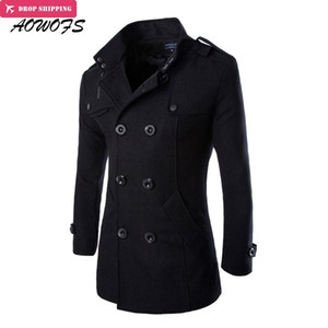 AOWOFS Winter Men Wool Pea Coats Black Mens Overcoat Short Trench Coats Male Double Breasted Wool & Blends Brand Clothing