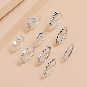 9Pcs Set Vintage Wing Star Heart Shape Knuckle Ring Set Elegant Letter Finger Hollow Ring Female Bohemian Design for Women Fashion Jewelry