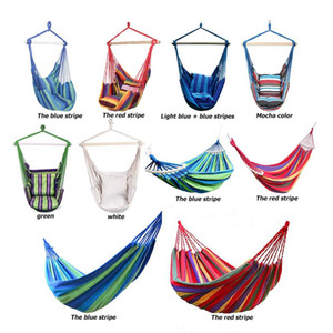 Outdoor Hammock Swing Chair Garden Striped Hammocks Chair Hanging Seat with 2 Pillows Adults Kids Leisure Camping 2019