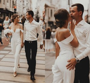 2021 White Satin Jumpsuits Wedding Dresses Off The Shoulder Open Back Vestidos De Novia Formal Party Dress For Bride Maid Of Honor Gowns