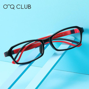 O-Q CLUB Kid Anti-Blue Light Glasses TR90 Silicone Children Computer Protection Spctacles Comfortable Flexible Square Eyeglasses
