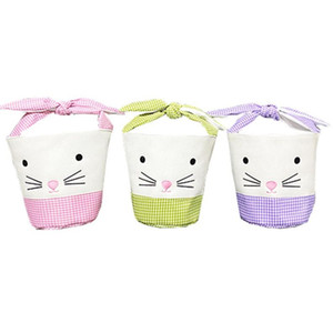 Easter Rabbit Basket Easter Bunny Gift Bags Rabbit Handbag Printed Canvas Tote Bag Bowknot Candies Baskets 50pcs T1I3404-1