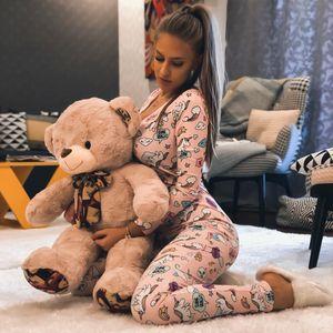 Yeni Dudak Baskı Seksi Onesie Yetişkin Karikatür Pijama Onesie Pijama Kadınlar Pijama Uzun Tulum Noel Partisi Giymek