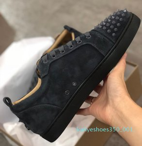 Top Quality red bottom shoes Mens Sneaker Studded Spikes women trainers Low Cut Genuine Leather Party Wedding crystal Leather Sneakers k01