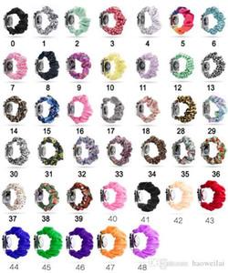 꽃 무늬 scrunchie 시계 밴드 표범 / 솔리드 컬러 / 스트라이프 scrunchie 천 패션 손목 밴드 38m 40mm 42mm 44mm iwatch 새로운 도착