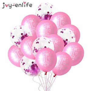 10pcs Pink 1st Birthday Balloon One 1 Year Old First Happy Birthday Party Decoration Latex Ballons Globos Baby Shower Girl Favor jllCMv