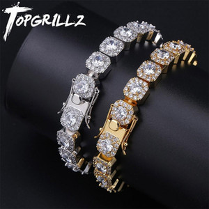 TOPGRILLZ 10mm Tennis Bracelet Square CZ Stone Men's Hip hop Jewelry Copper Material Gold Silver Color Iced Out CZ Link 7 8 Inch