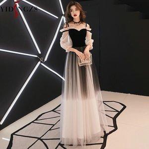 Yidingzs Spaghetti Strap Grey Vestido de veludo Tulle Partido elegante vestido longo Y200930