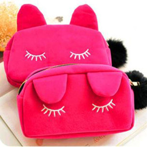Cute Cat Lady Hairball Zipper Coin Makeup Bag Pouch Travel Toiletry Storage Bag Pouch Women Trip Cosmetic