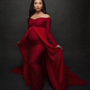 Shoulderless Long Sleeve Pregnancy Dress Photography Props Maternity Maxi Gown Dresses For Photo Shoot Pregnant Women Clothes Q1216
