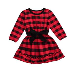 Bebé do Natal Red Plaid vestido manga comprida Encadernação cintura bowknot Prom Party Dress infantil roupa da criança 1023