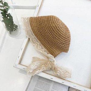 Cokk Yaz Şapka Kız Hasır Şapka ile Dantel Şerit Bow Çocuk Kız Bebek Kepçe Hat El yapımı Çocuk Güneş Şapka Plaj SWY sqcuwF bdefashion