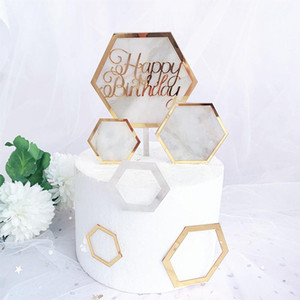 Hot Cake Decorations Baby Shower Acrylic Cake Topper Hexagon Gold Happy Birthday Topper For Kids Birthday Party