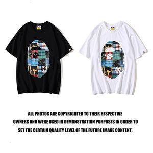 Chaopai head color mosaic printed T-shirt for men and women couples short sleeve summerPILXSGTXUTQG