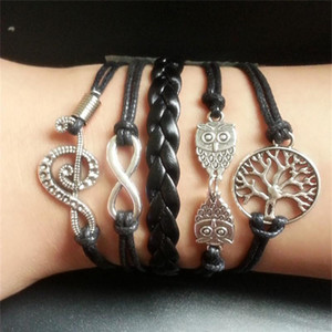 Charm Bracelets for Women Men Jewelry Statment Bohemian Leather Bracelet Pulseras Love Believe Wrap Infinity Bracelets