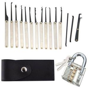 24 piezas Goso Lock Picking Picking Set Locksmith Pretty Lock Pick Herramienta Set con Candado Transparente Tarjeta de Crédito Bloqueo Selección Set Venta al por mayor UPS
