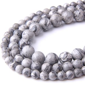 Natural Grey Gray Map stone beads Wholesale natural Round stripe gem Jaspers Stone loose 8 mm beads Jewelry Making DIY Bracelet