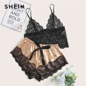 Shein Multicolor Blumenspitze Longline Bralette mit Satin Shorts Dessous Set Frauen-Sommer-Intimates Colorblock Sexy Sets