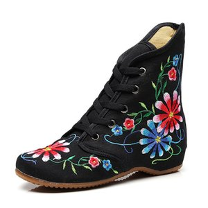 Veowalk Retro Women Embroidered Cotton Lace-up Short Flat Boots,Autumn Ladies Casual Chinese Embroidery Shoes Comfort Booties 201021