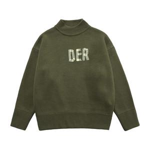 Herbst Winter Asian Tape Brief Halb Rollkragenpullover High Collar Strick Pullover Männer Frauen Casual Wool Street Sweatshirt Jumper