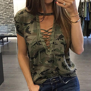 New Womens Ladies Summer Camouflage Short Sleeve Loose T shirt Casual V Neck Bandage Shirt Tops