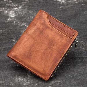 Pocket Genuine Multi-Cards Leather Bifold Clutch Wallet Money Short Men Holder Tanned Coin Clip Male Bag Purse1 Bkcjh
