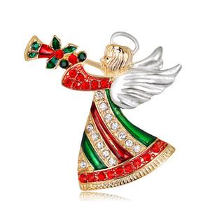 Мода Рождество Ювелирные Изделия Мультфильм Ангел дует Труба Рождественская Брошь Буровая Женские Корсаж Броши