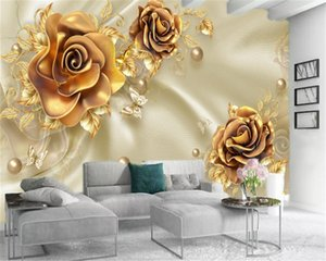 Classic 3d Wallpaper Golden Flowers Smooth Pearl Butterfly Luxury Premium Silk Interior Decoration Wallpaper