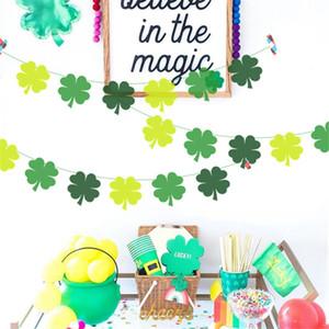 Decoraciones del día de St Patrick Los tréboles verdes Banners Set Shamrock Lucky Irish Party Garlands Festival irlandés Festival de látex Globos Sets EEF4924