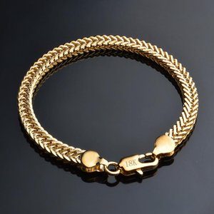 Link, Chain Women & Men 6MM Gold Color Smooth Snake Chains Bracelets 8inch Hip Hop Rapper Bangle For Female Male Fashion Jewelry Gift