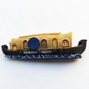 Lichi India Kerala Barco iman de frigorífico 3D creativo refrigerador magnético engomada decoración del hogar Viajes recuerdos jOEj #