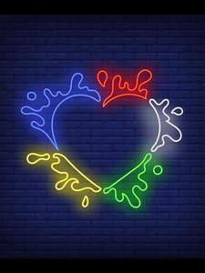 Sinal de néon Para Abstract Frame dado forma coração com pintura espirra Lâmpada tubo de vidro tempo de luz resterant decorar Impacto Atrair luz