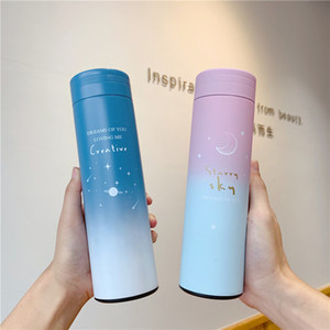 New hot-selling smart thermos flask 304 stainless steel girl student cute cartoon gradient color diagonal cup