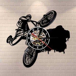 Equitação extrema Ciclismo Relógio de parede bicicleta registro de vinil relógio de parede Dirt Bike Track Racing Home Decor relógio relógio