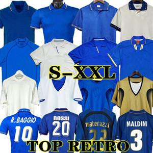 1998 rétro Baggio Maldini Football Jersey Football 1990 1996 1982 Rossi Schillaci Totti del Piero 2006 Pirlo Inzaghi Buffon Italnavaro