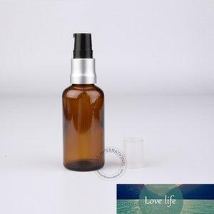 5 x 50ml / 50cc alta calidad Amber Botellas de aceite esencial botella de loción con aluminio + plástico de la bomba de Brown Embalaje de contenedores