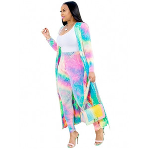 2 Piece Women Set 2020 New African Tie Dye Print Elastic Pants Rock Style Dashiki Famous Suit For Lady coat and leggings 2pcs se X0923