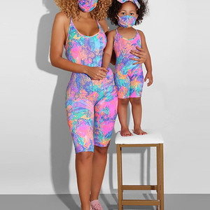 Summer 2020 Family Sleeveless Bodysuit Tie Dye Print Yoga set mom and daughter matching baby girl clothes MINI and MAMA Playsuit 34