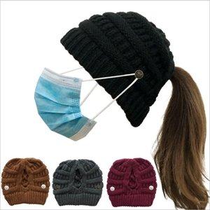 Düğme Ayrılabilir Örme kasketleri Geri Açılış Yün İplik Sıcak Hat Kış Kadın Örgü Şapka EWB2470 ile çapraz at kuyruğu Örgü Şapka