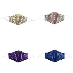 Salon de la mascarilla protectora de la mujer de la señora Fashion DesignerMask Paillette WashableAdult lentejuelas BlingBling ajustable # 650 Ctnqw