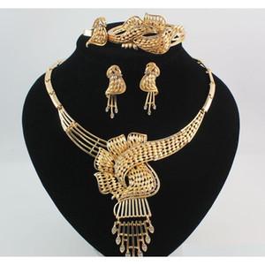 Bijoux africains 18 carats Or \ Silver Plated strass Déclaration Collier Bracelet Bague Boucle d'oreille Femmes Femmes de haute qualité Ensembles de bijoux 79eti