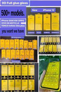 9D tampa completa vidro temperado cola completa 9h protetor de tela para iphone 12 11 pro max xs xr x 8 2020 samsung s10 e a10 a31 a71 a21s huawei p40