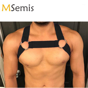 MSemis Mens Harness Bondage 게이 BDSM 속박 페티쉬 어깨 바디 흉부 근육 하네스 벨트 스트랩 Arnes Hombre 벨트 O-Ring1