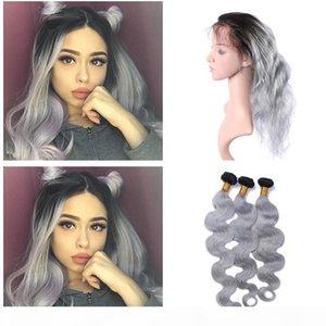 1b Sliver Grey Ombre Body Wave Brésilien Vierge Hair Weave avec 360 Dace Bande Précontalle Précédente 360 Dentelle Fermeture frontale avec des paquets