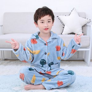 Children Clothing Warm In Winter Baby Designers Clothes Coral Velvet Pajamas Thickened Children's Flannel Home Wear Set DHL